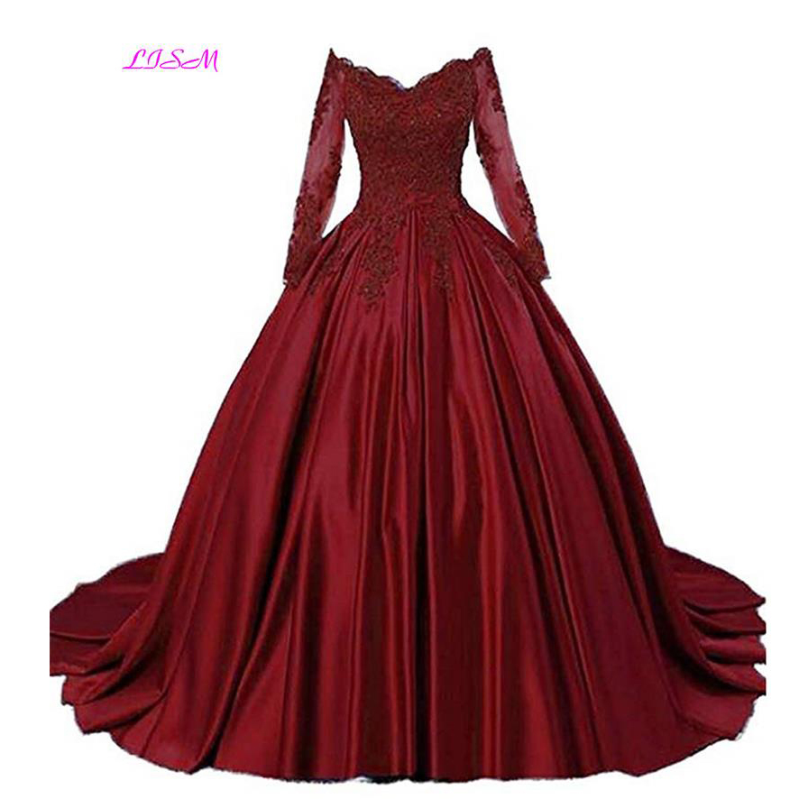 Luxury Ball Gown Prom Dresses Quinceanera Robe Burgundy Off Shoulder Lace Pageant Dress Long Sleeves Puffy