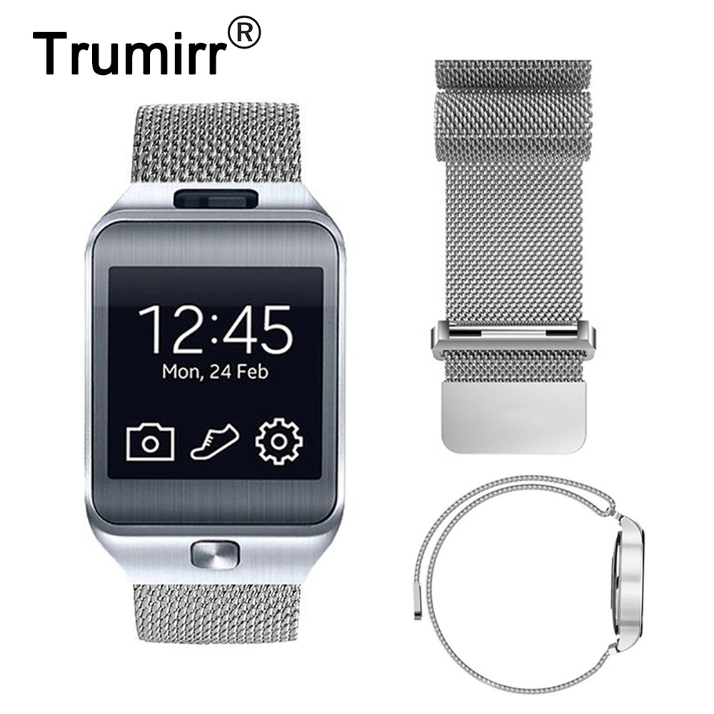 22mm Milanese Loop Strap Stainless Steel Watch Band Magnetiskt Stängningsarmband för Samsung Gear 2 R380 R381 R382 Moto 360 2 46mm