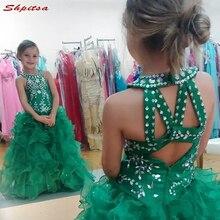 Зеленые платья с цветочным узором для девочек на свадьбу, для первого причастия, пышные платья на свадьбу для девочек, детские сетчатые халаты