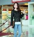 Зима Корейский диких Тонкий PU кожаная куртка мотоцикла кожаная куртка верхняя одежда женщин пальто мода бесплатная доставка
