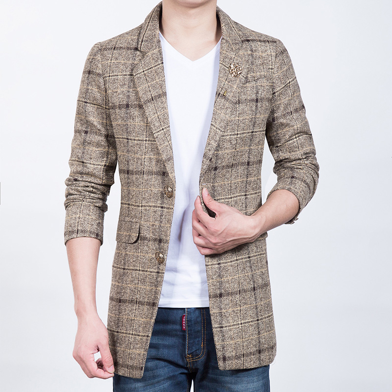 New-Arrival-Casual-Blazer-Plaid-Woolen-Suit-Jacket-Slim-Fit-Brand-Clothing-Long-windbreaker-jacket-Men (2)