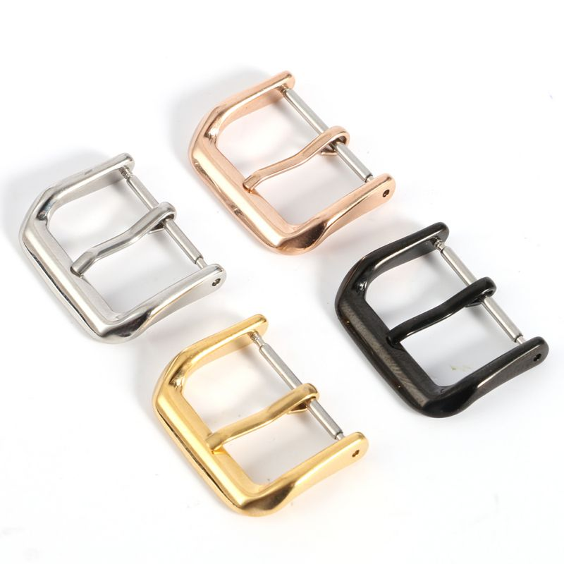 16 18 20 22 Mm Stainless Steel Watch Buckle Clasps Silver Rose Gold Black Polished For Leather Watch Bands Replacement Buckled