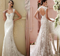 2016 New Sleeveless Empire Court Train Sweetheart Cap Sleeve White Lace Sexy Backless Sheath wedding dresses 2016