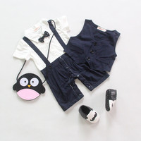 Summer Style Baby Boys Clothing Sets Toddler 2 Pcs Gentleman Style Jumpsuit Black Bow Tie Short