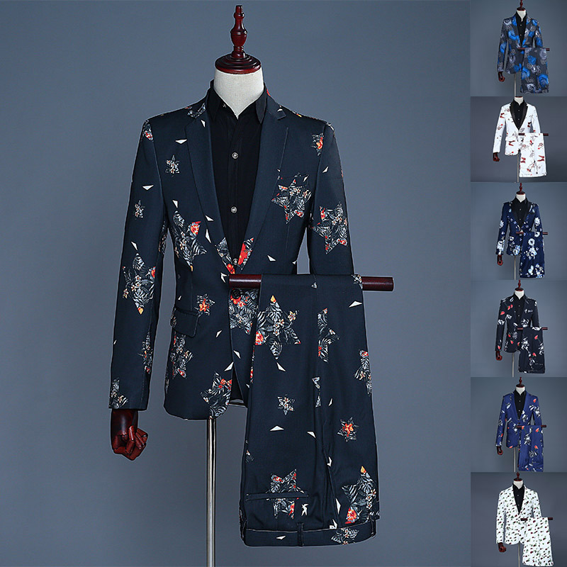 Tide Men Navy Blue Floral Print Fashion Casual Suits Singer Theater Suits Wedding Party Groom Stage Costume