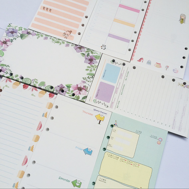 Scrapbooking Planner Organizer Refills Papers for 6-Rings Binder Notebook A5 A6, Cute filofax papers replace. коллекторная группа stout 1х3 4 4 выходов с расходомерами smb 0473 000004 page 3