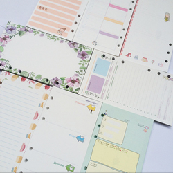 Scrapbooking Planner Organizer Refills Papers for 6-Rings Binder Notebook A5 A6, Cute filofax papers replace.
