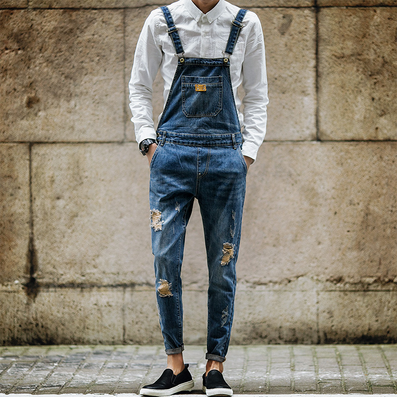 2017 New Autumn Men Denim Bib Pants Fashion Slim Pants Hole Denim Overalls Pants Overalls Suspenders Slim Jeans