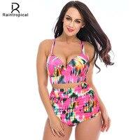 2016 Newest High Waist Swimsuit Women Print Colorful Vintage Retro Floral Push Up Bikini Set Plus