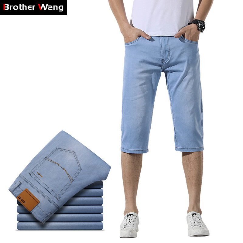 2019 Summer New Men's Denim Shorts Fashion Classic Style Light Blue Elastic Solid Color Casual Short Slim Fit Jeans Male Brand