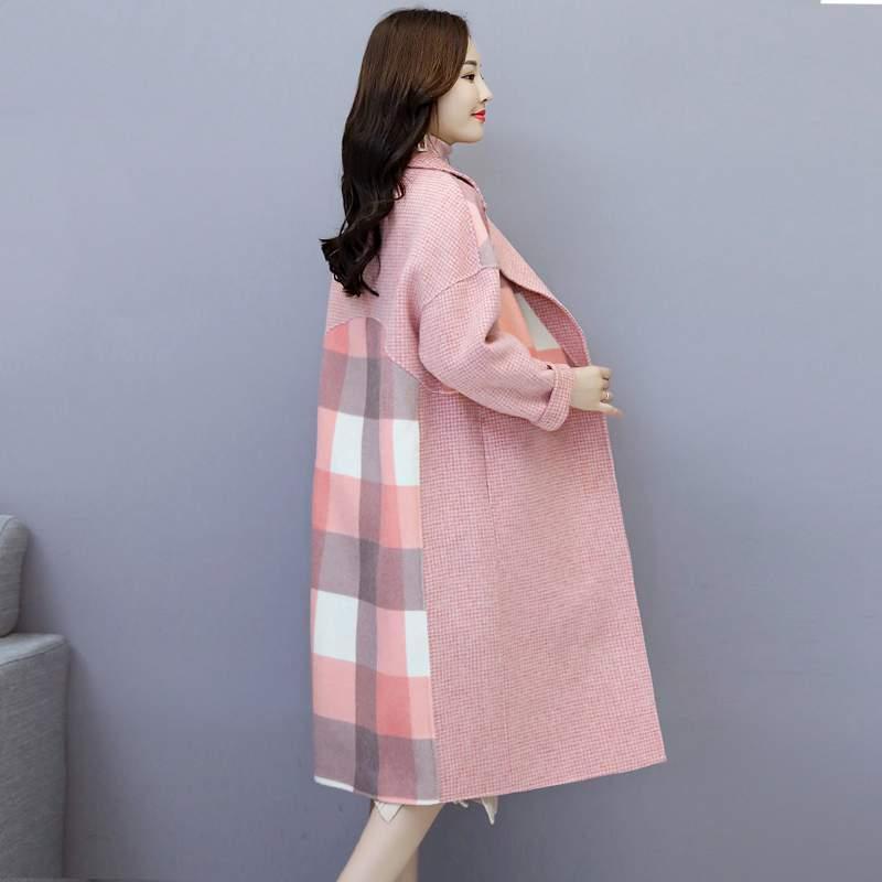 De Élégantes Survêtement Khaki Femmes Automne Laine Veste Nouveau Patchwork 2019 Manteau pink Mode Long Pr320 Moyen camel Hiver Coréenne Tempérament p1w7TxqE