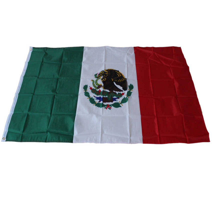 Happy Gifts 90 x150cm New Design National Mexico Flag Mexican Country Flag Polyester Grommets  High Quality Polyester Fabrics