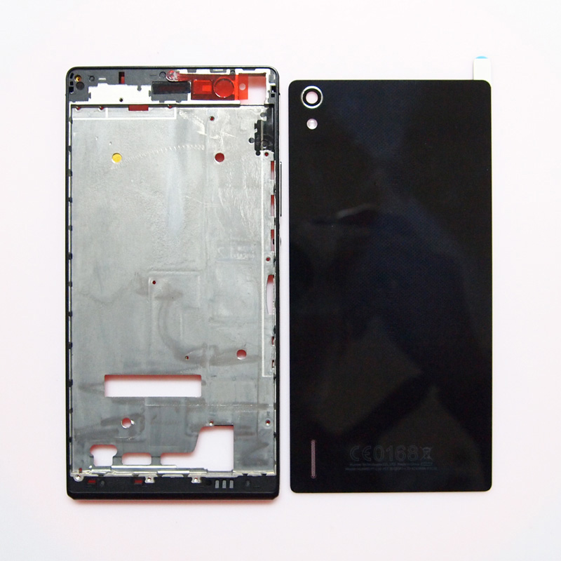Цена за 100% новый отдел кадров ЖК-экран кадр батарейного отсека задняя крышка корпуса чехол для Huawei Ascend P7 с объемом мощности пуговицы
