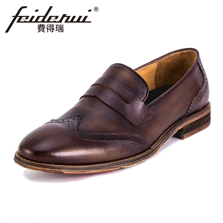 Vintage Genuine Leather Mens Wingtip Brogue Loafers British Style Round Toe Slip on Handmade Male Flats Formal Dress Shoes KUD31 цены онлайн
