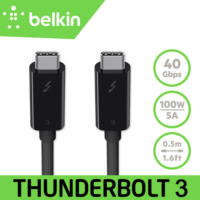 New Arrival Belkin Original Thunderbolt 3 Cable (USB Type-C to USB-C) 100W/40Gbps 1.6ft/0.5m for MacBook Pro with Retail Package кабель usb type c belkin 3 1 usb a to usb c f2cu029bt1m blk