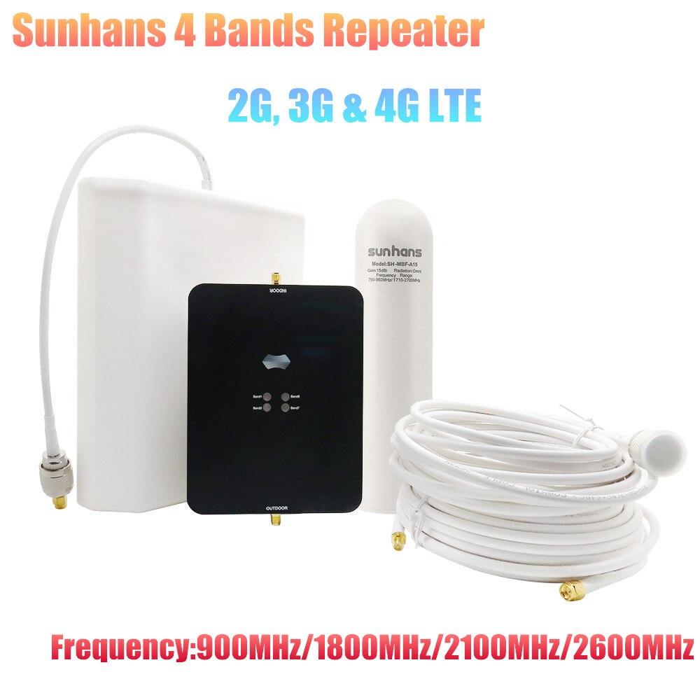 Sunhans 4 bandes répéteur 2G, 3G & 4G LTE 65dB gain, fréquence 900 MHz/1800 MHz/2100 MHz/2600 MHz répéteur de Signal Mobile avec antenne