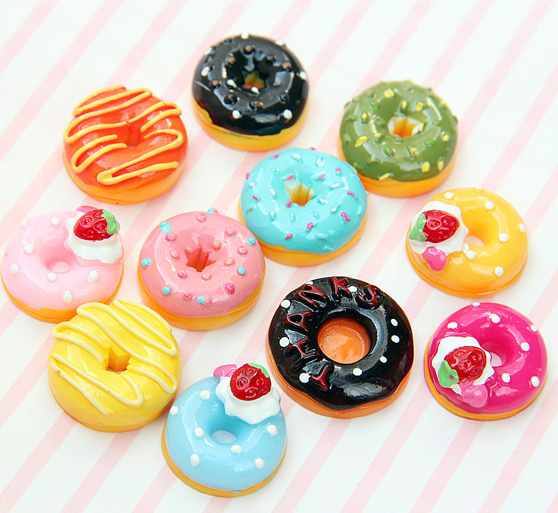 1:24 10pcs Home Craft Dollhouse Accessories Miniature Mini Candy Donut Doll Food Play Decor Kitchen Toys