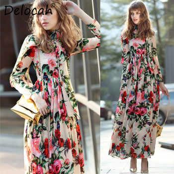Delocah Women Vacation Maxi Dresses Runway Fashion Design Long Sleeve Holiday Boho Elegant Chiffon Flowers Printed Long Dress