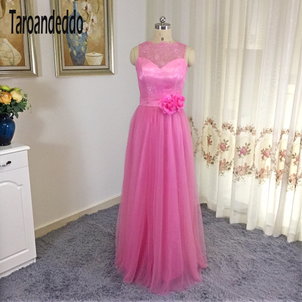 Compare prices on dress pink bridesmaid online shoppingbuy low sleeveless pink bridesmaid dress lace and tulle long bridesmaid dress with hand made flowers party dress ombrellifo Images