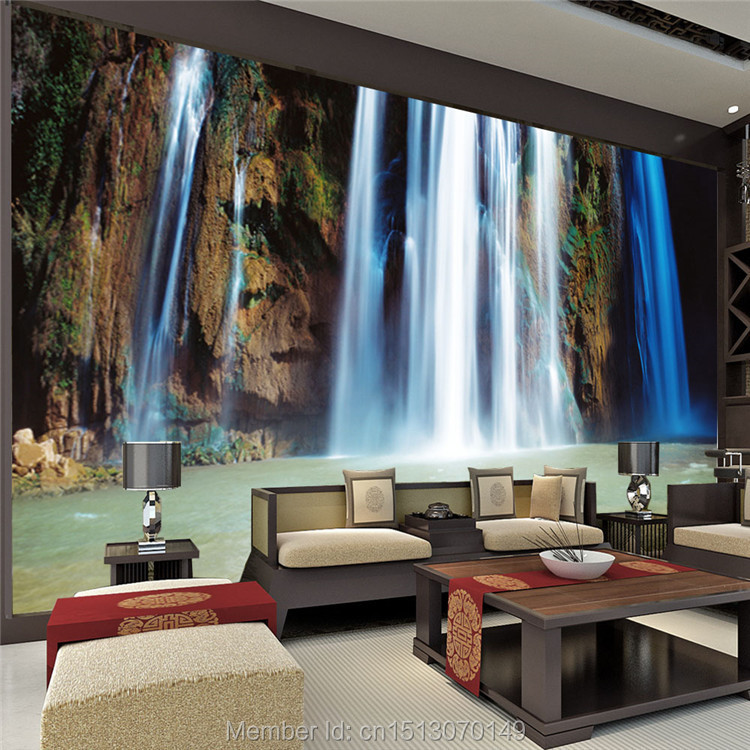 Custom large landscape waterfalls wallpaper wall painting for Art mural wallpaper