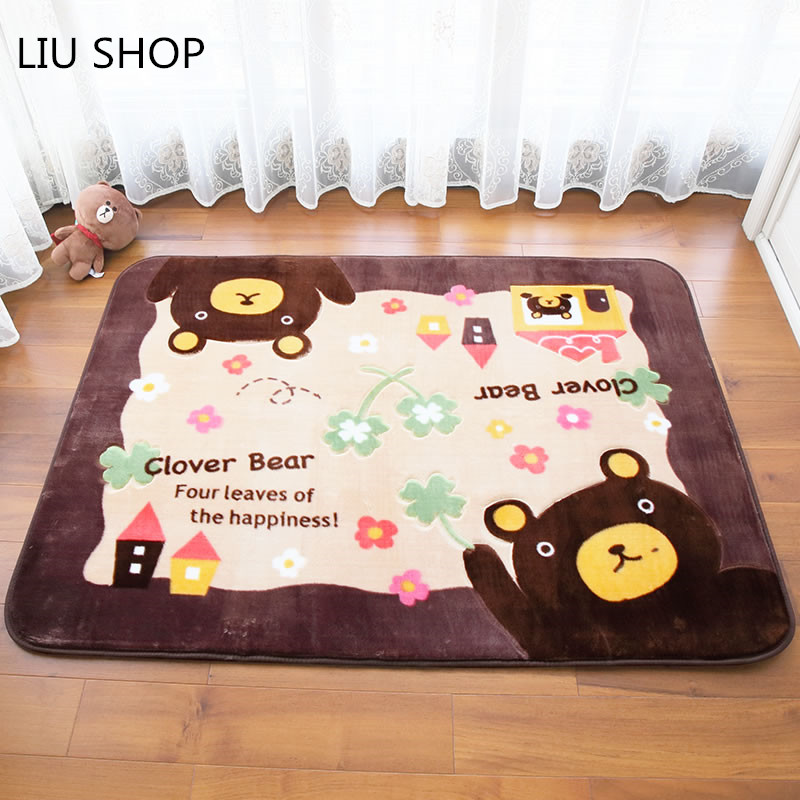 LIU Cartoon lovely carpet bedroom living room mat children room thickening coral fleece bed blanket home crawling mat baby rug
