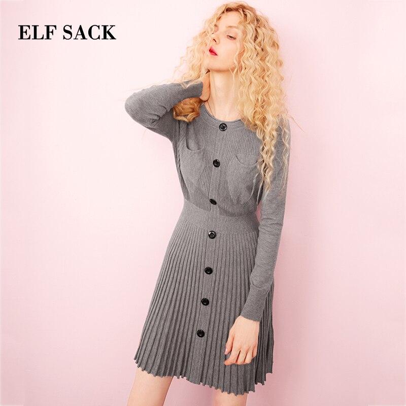 ELF SACK осеннее Новое Женское платье черного цвета до колена с круглым вырезом Vestidos однотонные винтажные женские платья тонкие уличные Femme ...
