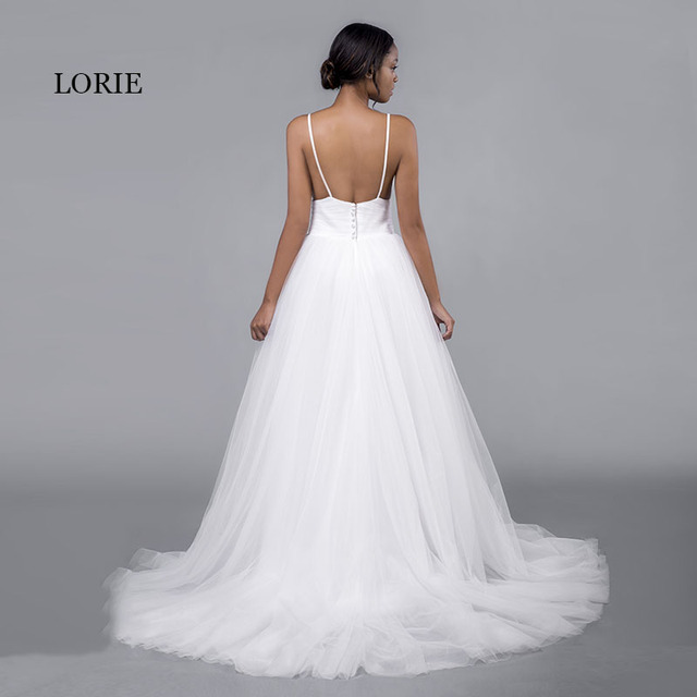 LORIE Cheap Wedding Dresses Princess Sexy Backless Spaghetti Strap Pleats Beach Tulle Real White Bridal Gown Free Shipping 3