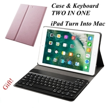 New 2017 Wireless Bluetooth Keyboard For iPad Air 2 / Air / 5/6 /Pro 9.7 Inch + PU Leather Tablet Cover Protective Case+ Gift