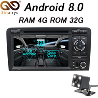 4GB RAM Octa Core Android 8.0 Car DVD GPS Navigation Autoradio Stereo Navi For Audi A3 S3 2002 2011 Car Multimedia System