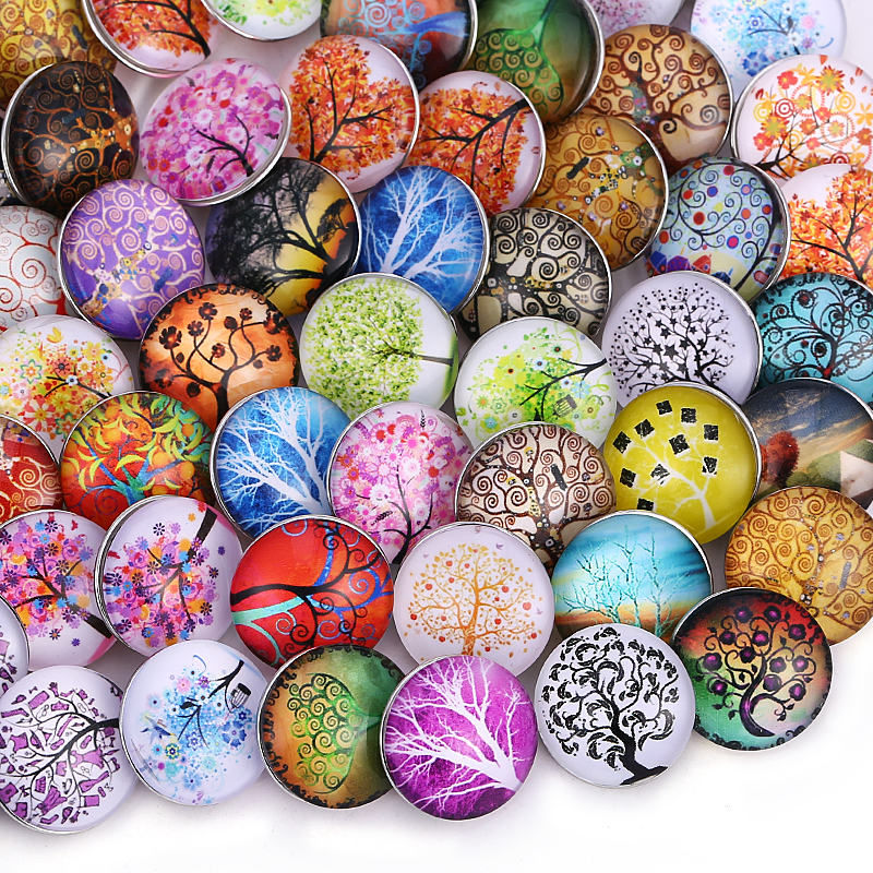 10pcs/lot Tree of Life Wholsale 18mm Snap Jewelry Mixed Styles Snap Buttons Fit Snap Bracelet Bangles Necklaces image