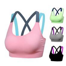 ФОТО  Shockproof Push Up Women Sports Bra Top  Fitness Yoga Cross Strap Womens Gym Running Padded Tank Athletic Vest Underwear
