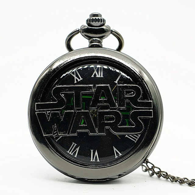 Retro Vintage Star Wars Black SWTOR Quartz Pocket Watch Analog Pendant Necklace