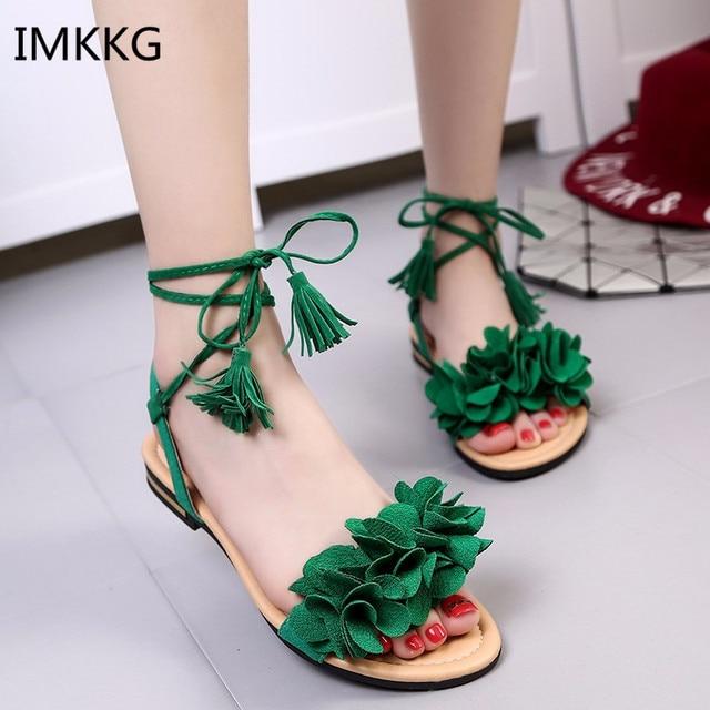 13b5634eabf Bohemian sandal women summer 2018 new flat shoes Korean Lace up tassel  Fashion Flower women shoes Q307-in Women's Sandals from Shoes on  Aliexpress.com ...