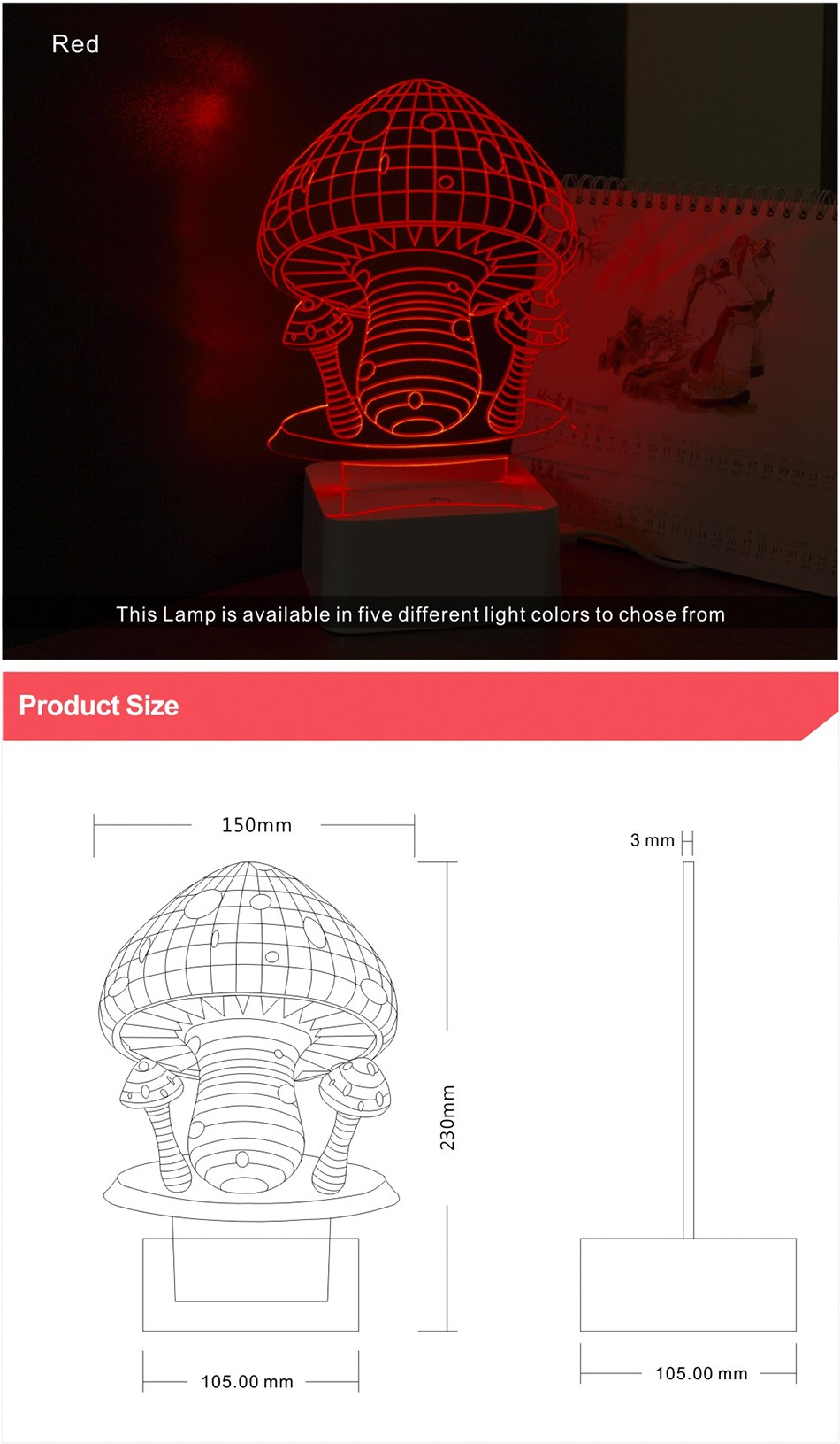Novelty Holiday Gifts Colorful Mushroom Lights 3D Lamp LED Night Light with Touch Lamp Base (5)