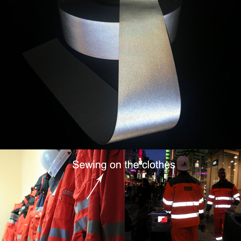 5см ширина высокой серебристой отражающей ткани шить на одежду