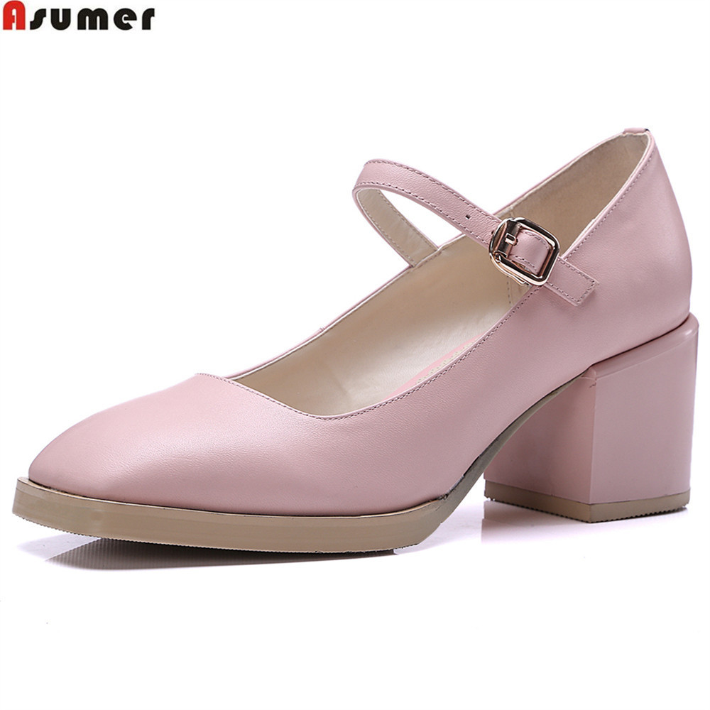 Asumer black pink fashion women pumps new arrival spring autumn women shoes square heel genuine leather high heels shoes siketu 2017 free shipping spring and autumn women shoes fashion sex high heels shoes red wedding shoes pumps g107