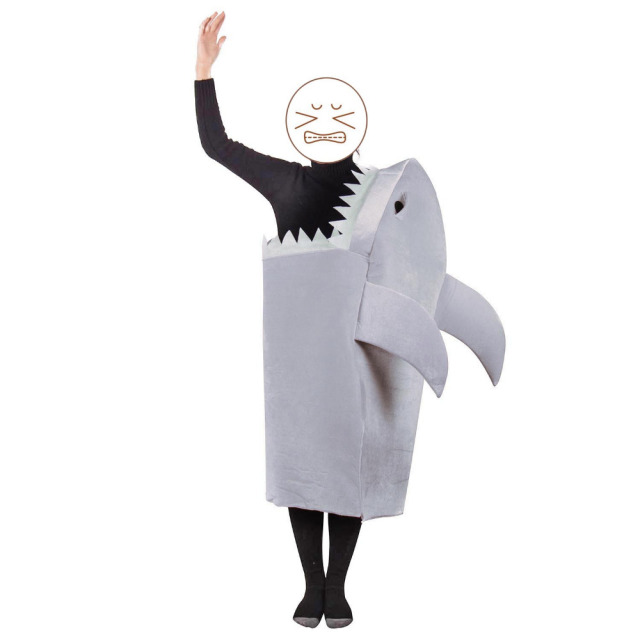 unisex man eating shark costume animal mascot jumpsuit great white shark fancy dress shark jaws - Halloween Costume Shark