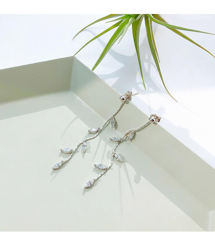 100% 925 Solid Real Sterling Silver Crystal Leaf Tassel Drop Earrings for Women Girls pendientes brincos eh962