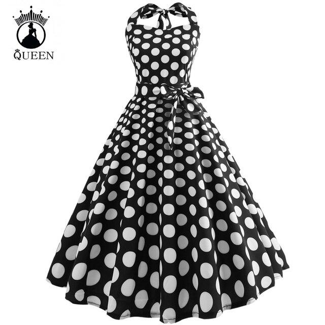 New Women Elegant Vintage Dress Plus Size Floral Print Pin Up Halter ...