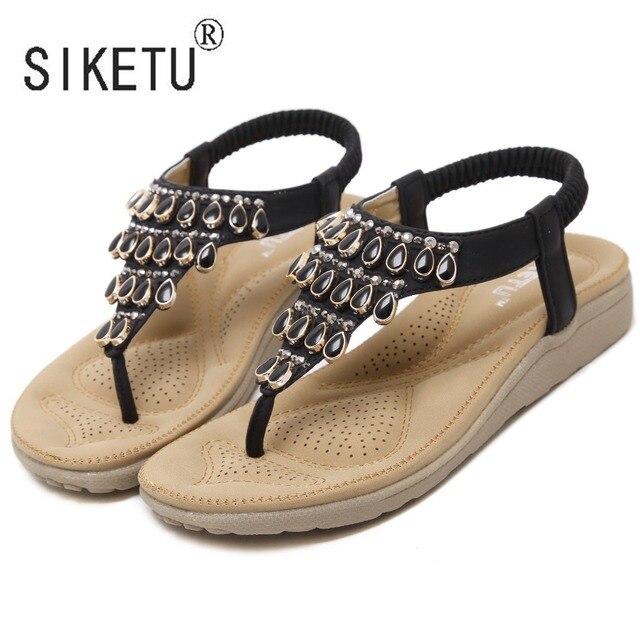 SIKETU Brand 2017 Women Shoes New Fashion Summer Women Flat Sandals  Rhinestone With Leisure Beach Shoes 35-41 b42b091796c7