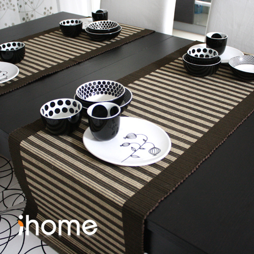 Table Runner Dining Mat Mats Bed Flag Placemat Cloth Natural Stripe
