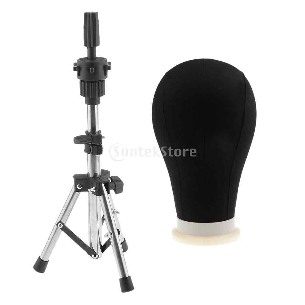22 дюймов черный холст поли блок Профессиональный манекен голова манекена модель для парика сделать дисплей стиль сухой с штатив Зажимная стойка