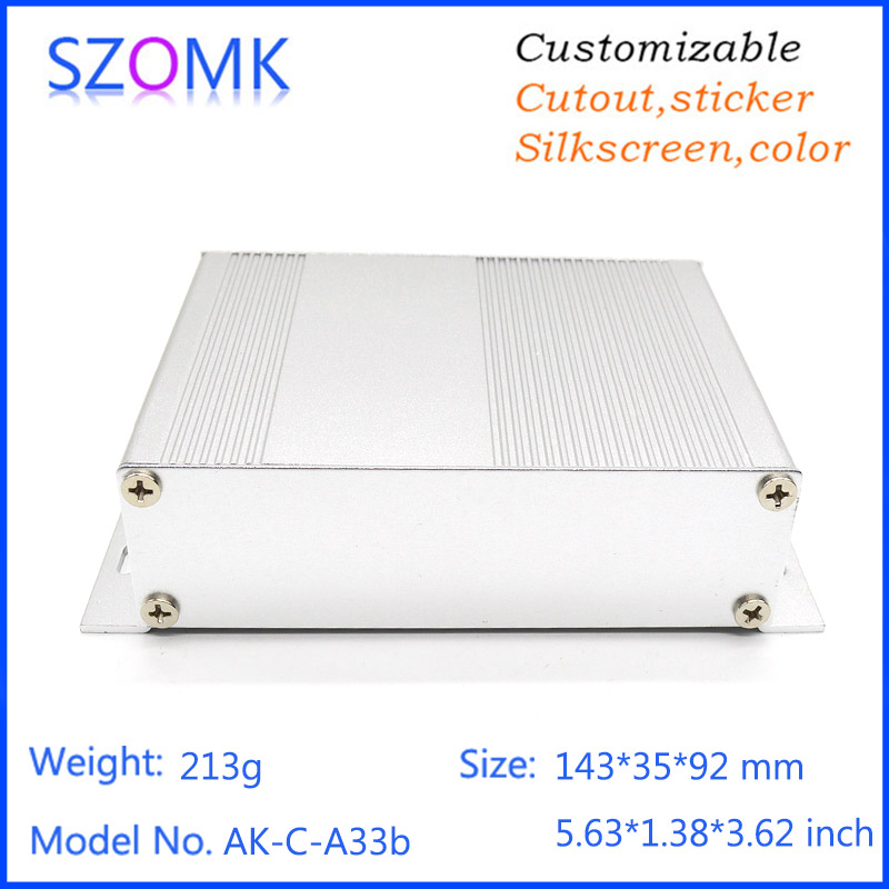 1 piece free shipping 35x143x92mm  silver color aluminum enclosure electronics box silk screen equipment business housing case 1 piece free shipping small aluminium project box enclosures for electronics case housing 12 2x63mm