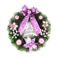2016New Christmas Wreath Door and Window Decorations Home Party Festivals Supplies gift Diameter 35 cm Exquisite purple Hot sale