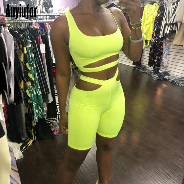 Auyiufar Neon Yellow Sporty Suit Female Women Two Piece Set Top And Shorts High Waist Bandage 2019 New Skinny Track Suit Female