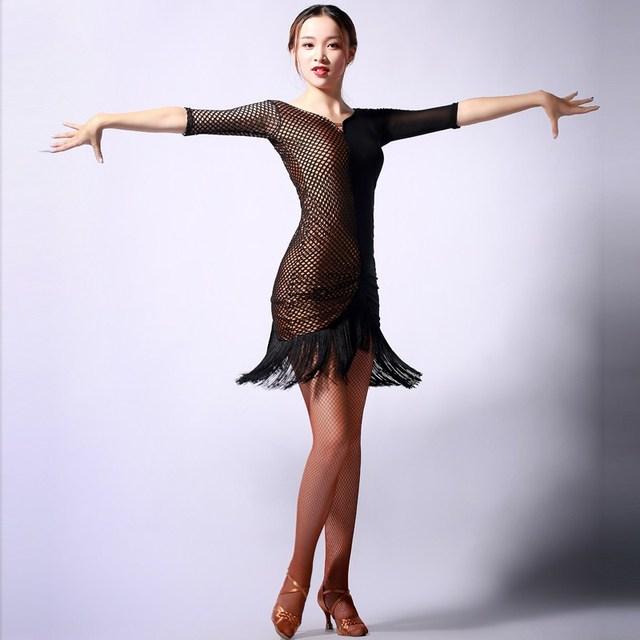 e7be1f736 Adult black tassel Latin Dance Dress Women Girls/Lady Cha Cha/Rumba/Samba /Tango/Ballroom Dance Skirt Latin Performance Wear