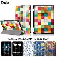 Huawei MediaPad için Dulcii M3 Lite 10 Vaka Tri-fold Deri Akıllı Tablet Kapak Huawei MediaPad için M 3 Lite 10 (10.1 Inç) çanta