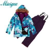 Mioigee 2017 Skiing Jacket Pant Snow Suit Waterproof 30 Degree Ski Suit Kids Winter Clothing Set