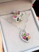 Natural multicolor tourmaline gem jewelry sets natural gemstone ring Pendant 925 silver elegant Luxury flowers women jewelry