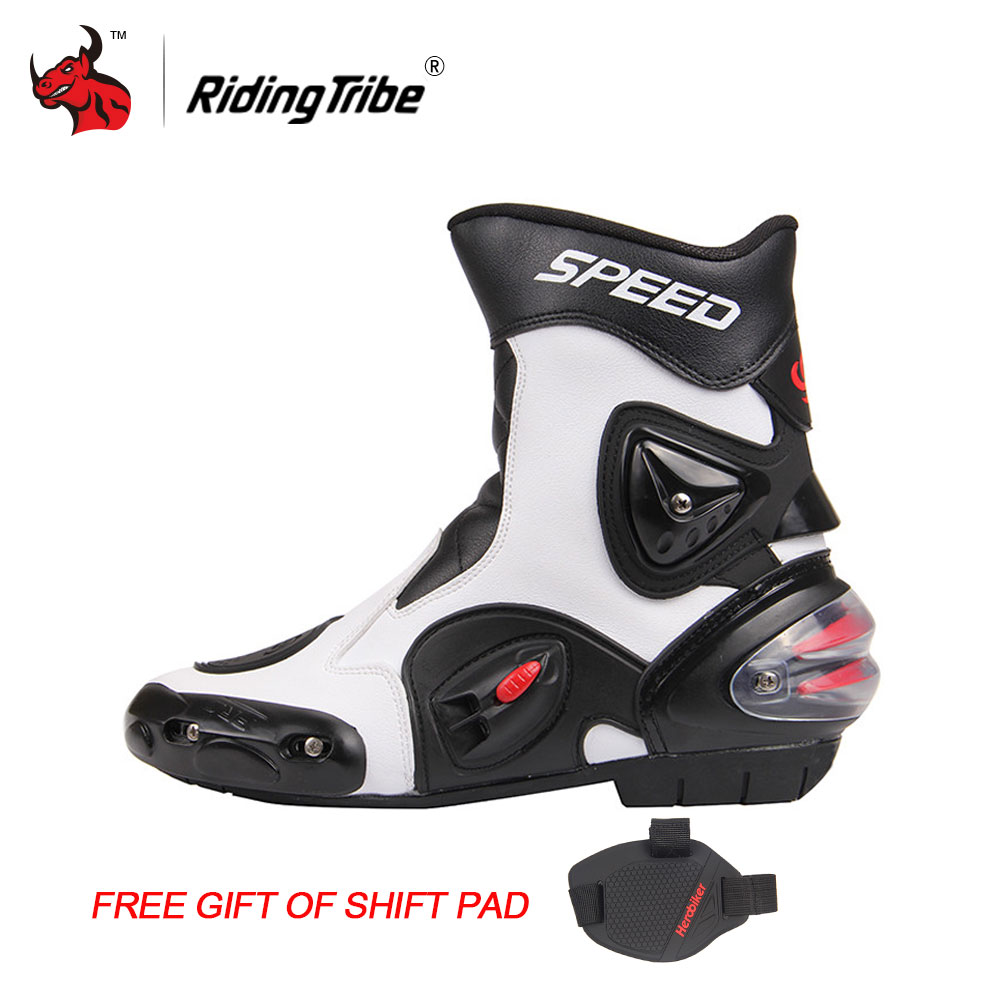 Riding Tribe Motorcycle Boots Men Bota Motocross Botas Moto Motorboats Shoes Motorbike Racing Career Bicycle Speed Boots new scoyco moto racing leather boots motorcycle boots shoes motorbike riding sport road speed professional botas